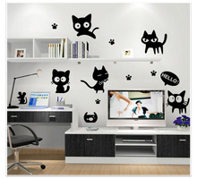 Cartoon cats living room wall decals notebook decorative fridge removable stickers