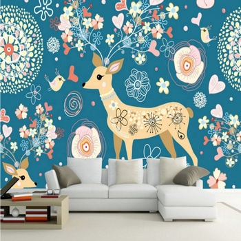 Wallpaper Display Stand Cute Deer European Style Floral Tv Background Wall Mural Wall Tv Cabinet Wallpaper Design Buy Kuantan Wallpaper Wallpaper