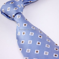 Blue Check Necktie and Pocket Square Set