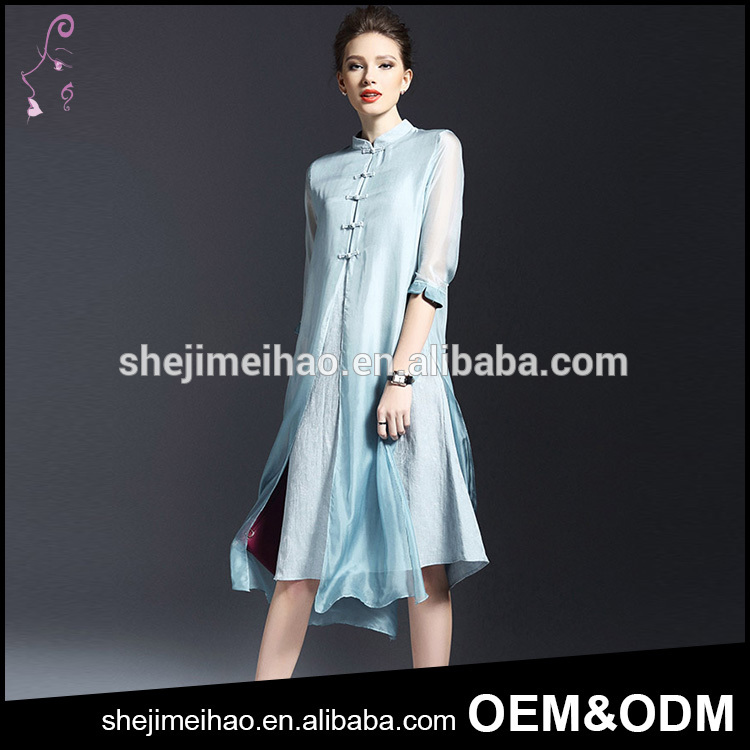 Pluz Size OEM Classical Chinese Style 3/4 Sleeve Silk Knee Length Dress