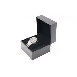 Custom Logo Luxury Black PU Leather Branded Gift Watch Box OEM