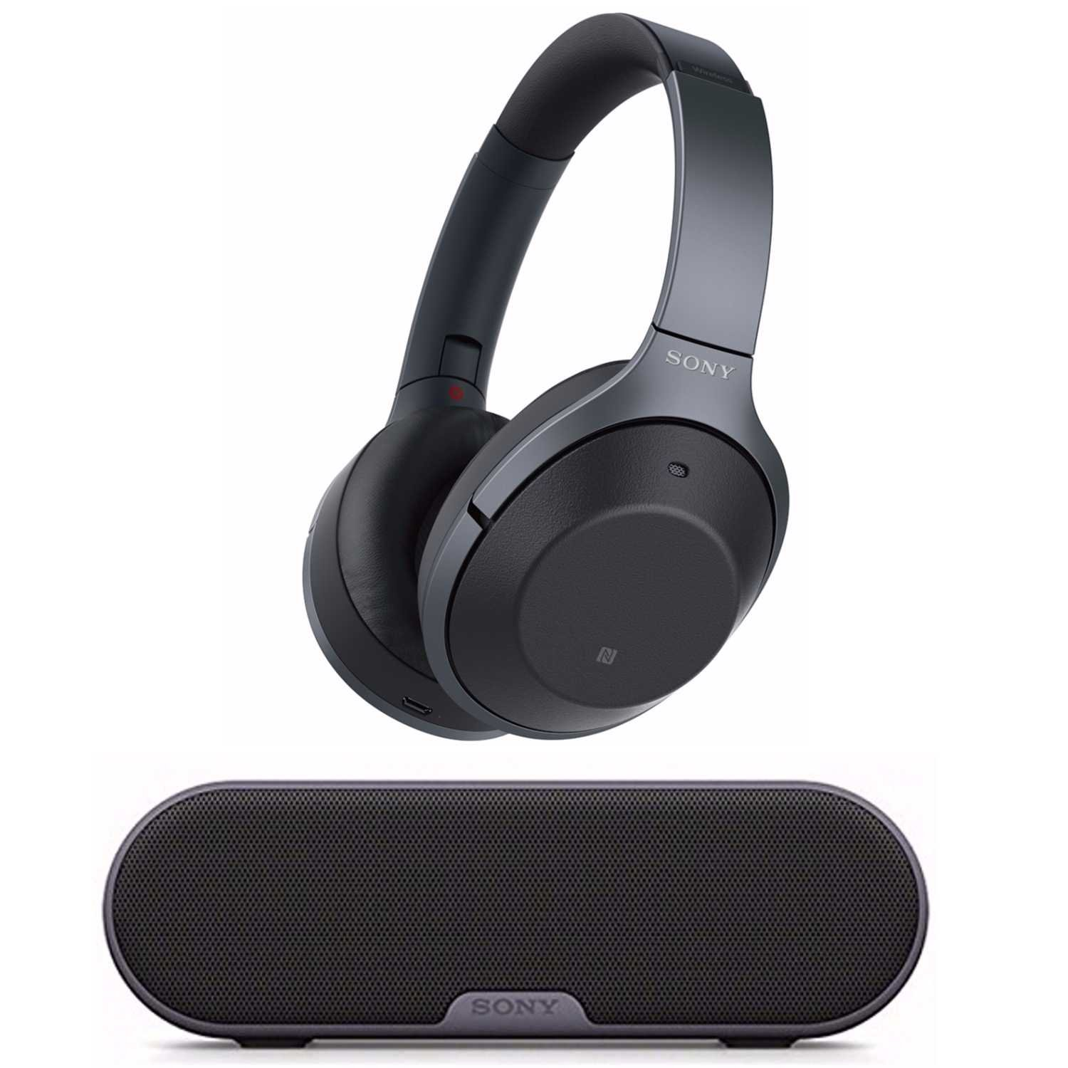 Sony Noise Cancelling Headphones WH1000XM2: Over Ear Wireless Bluetooth Headphones with Case w/Sony SRS-XB2 Portable Wireless Speaker with Bluetooth and NFC (Black)