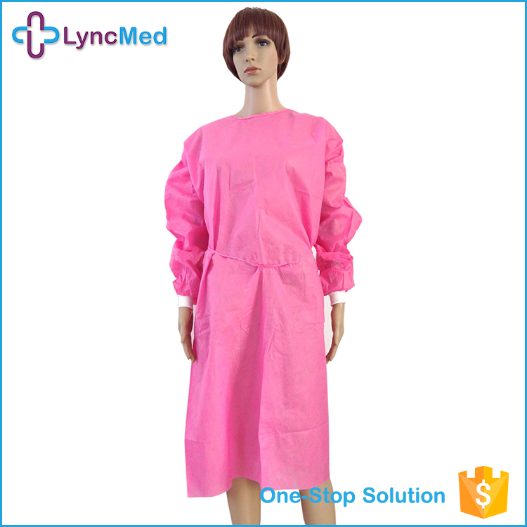 OEM disposable nurse pink surgical dress sterile isolation surgical gown