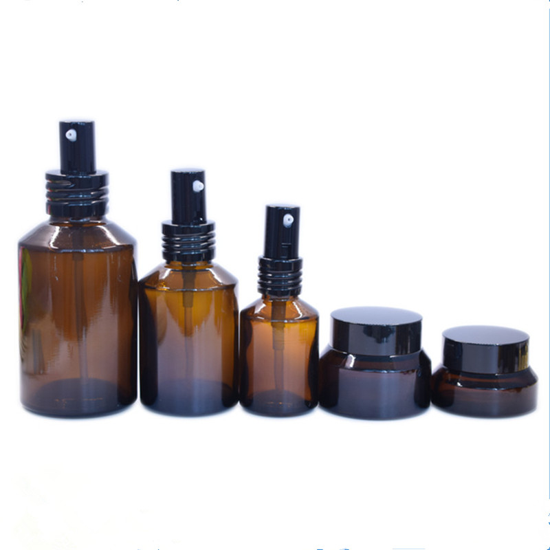 Hot-sell 15ml 30ml 50ml Amber glass jar with black lid