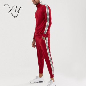 adb3cd6273 Design your own custom red mens tracksuit with side striped training  jogging suit sportswear