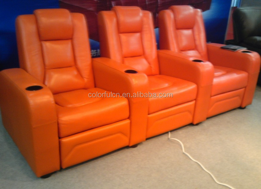 Top Quality Purple Recliner Sofa In Leather Vip Cinema Ls811