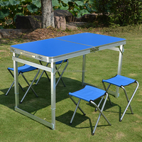 Outdoor Furniture General Use and Aluminium Metal Type folding dining table and chairs set