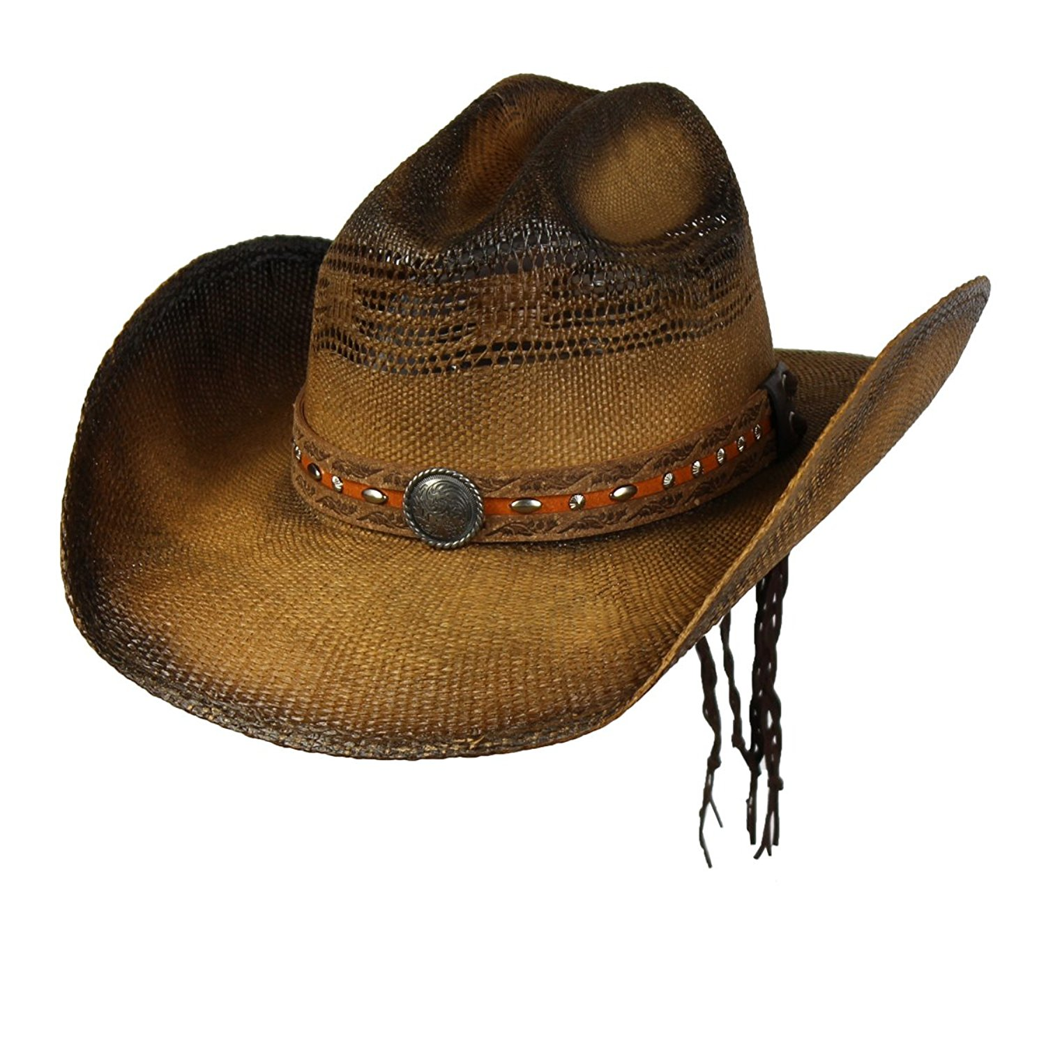 b5feea2e031ff Get Quotations · Saddleback Hats Brown Shapeable Bangora Straw Cowboy  Western Hat w Concho Studs