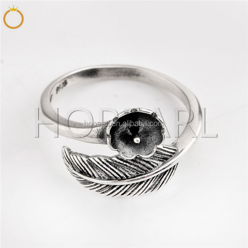 SSR208 Vintage Design Feather Ring Findings 925 Sterling Silver DIY Jewelry Making Ring Blank Base