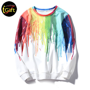 iGift Men and women splash ink rendering graffiti T-shirt long sleeves