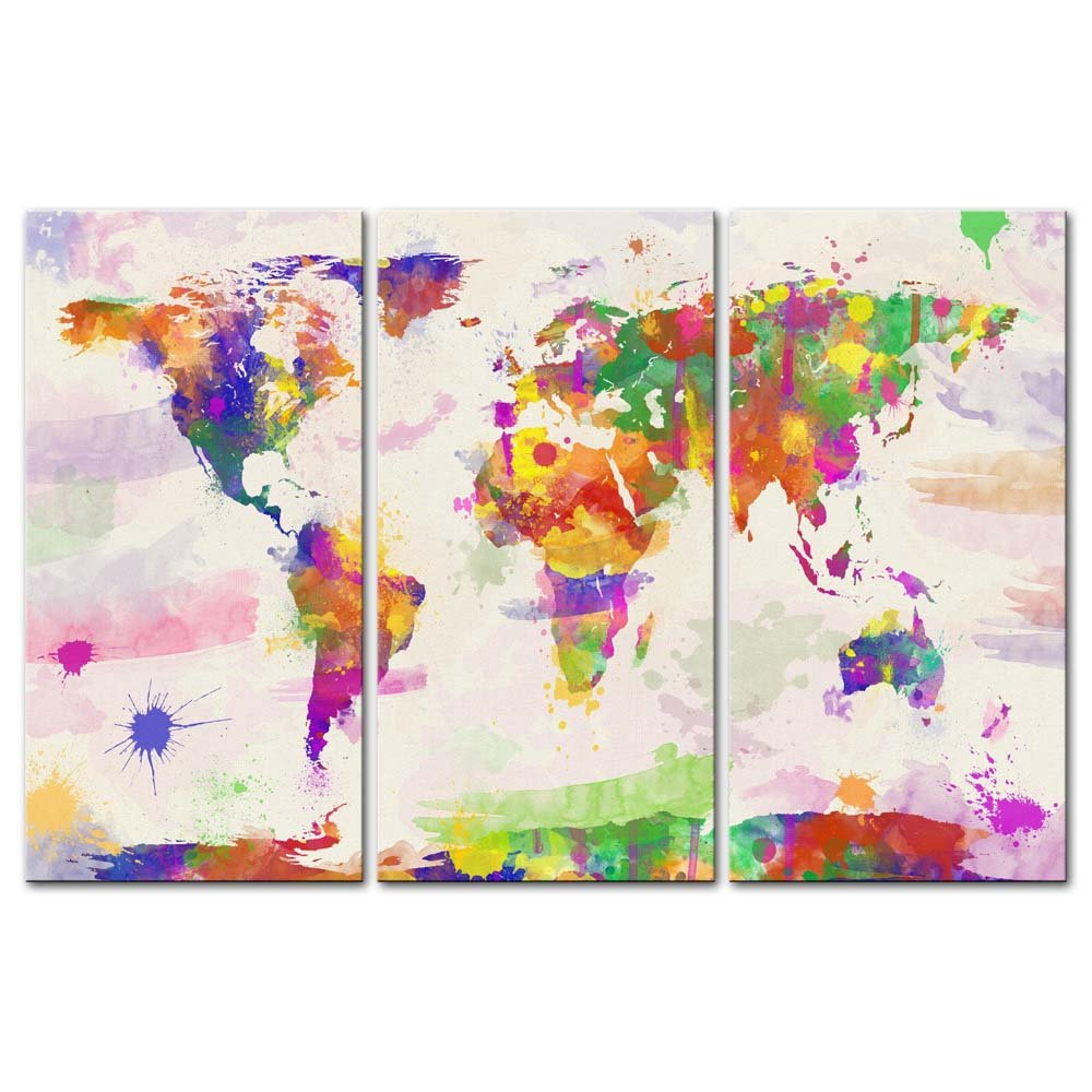 Canvas Print Wall Art Paintings For Home Decor World Color Map In Watercolour In Hand Painted Style 3 Pieces Panel Modern Framed Artwork Pictures For Living Room Decoration Map Photo Prints On Canvas