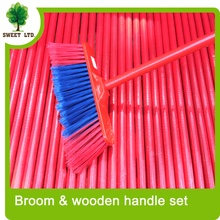 Plastic broom brush with Wooden handle PVC covered