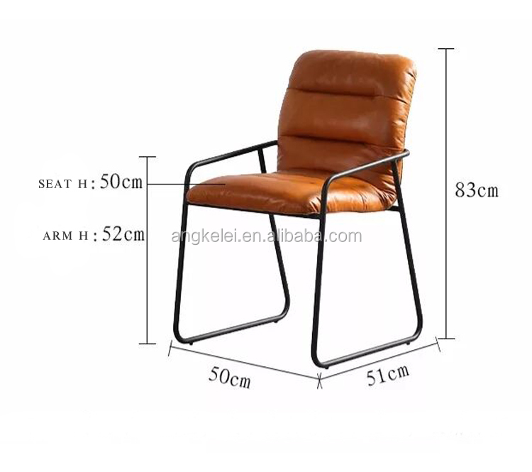 cheap metal chair wrought iron frame with arm leather accent chair for living room upholster armchair home furniture