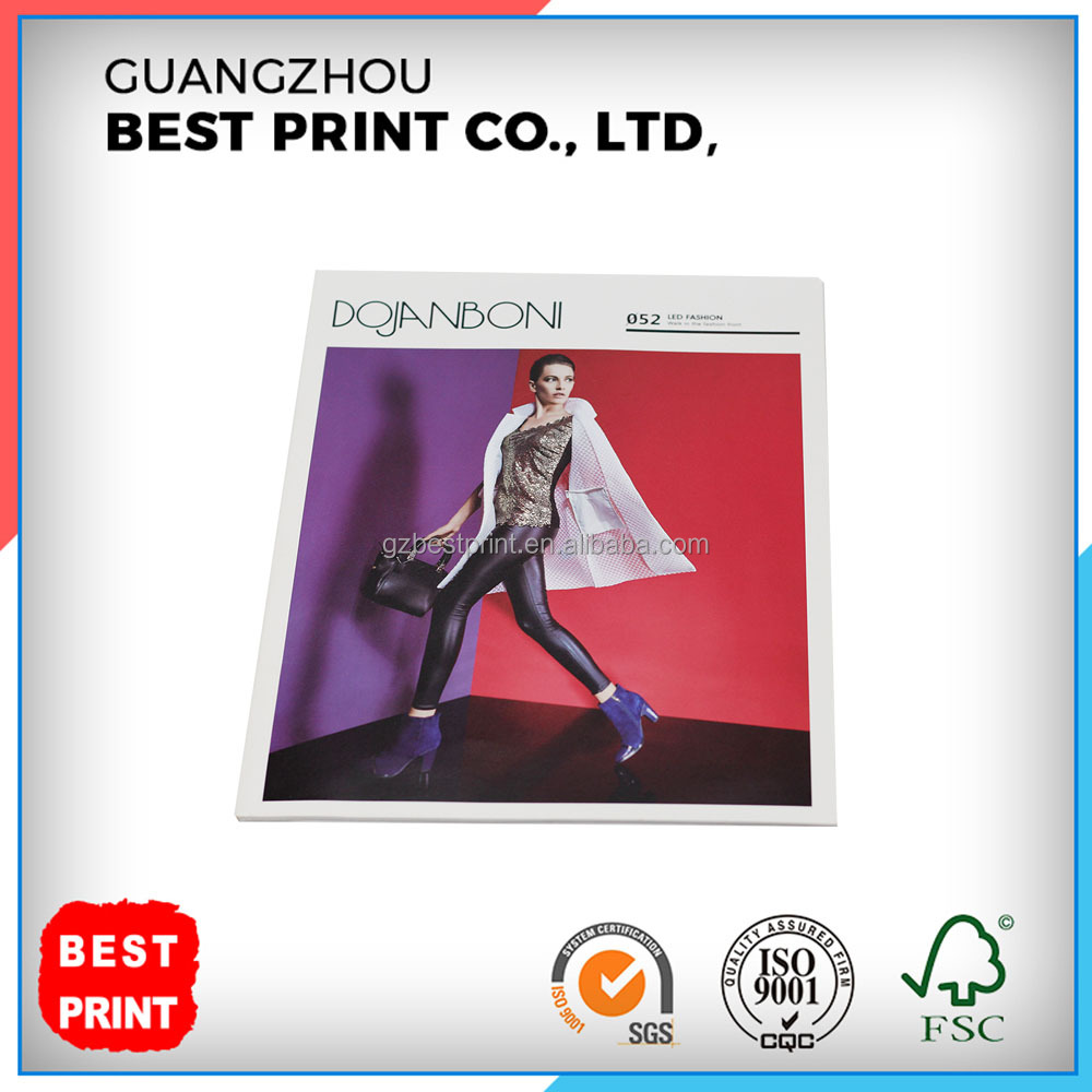 Full Color Custom OEM Softcover Clothing Catalogue Brochure Printing with Varnishing
