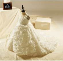 FL1007 Khusus Organza Bunga Ruffle Tangan Manik-manik Anak Wedding Dress Appliques Ball Gown Flower Girl Dress