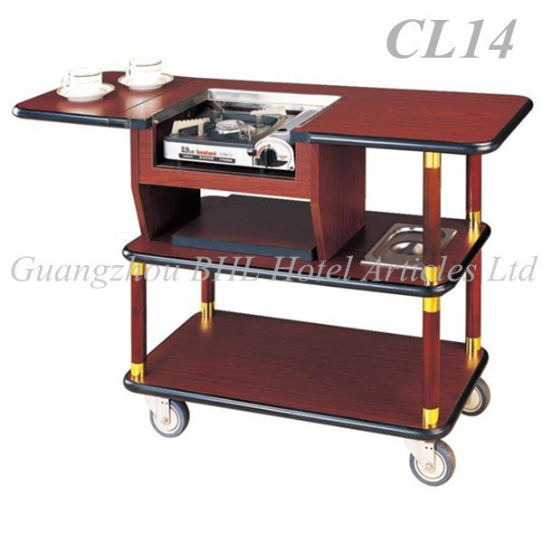 Guangzhou hotel supply wooden hotel flambe trolley coffee for Coffee carts for office