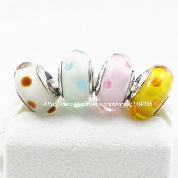 S925 Sterling Silver Polka Dot Murano Glass Bead Sets With Charm Box Fits European dora Jewelry Bracelets Necklaces & Pendants