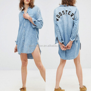Latest new design one piece dress pattern xxl size women casual denim dress