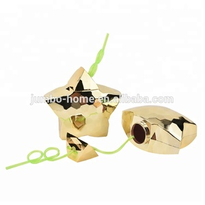 Plastic gold double wall tumbler with straw shape cup star shaped cups