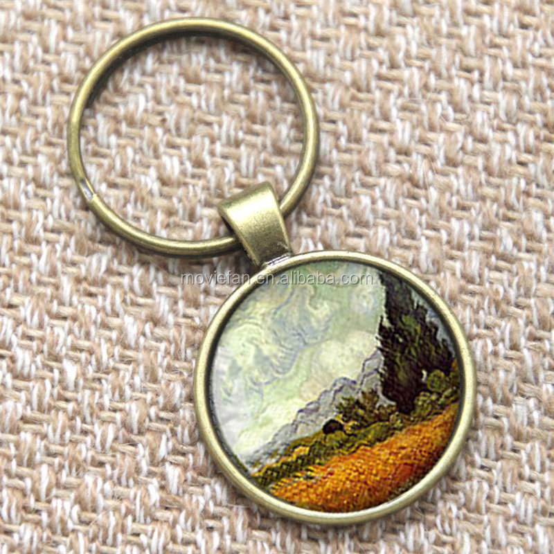 Van Gogh keyring, Wheat field with cypresses pendant grain field cypress art keyring Gift glass photo keyring