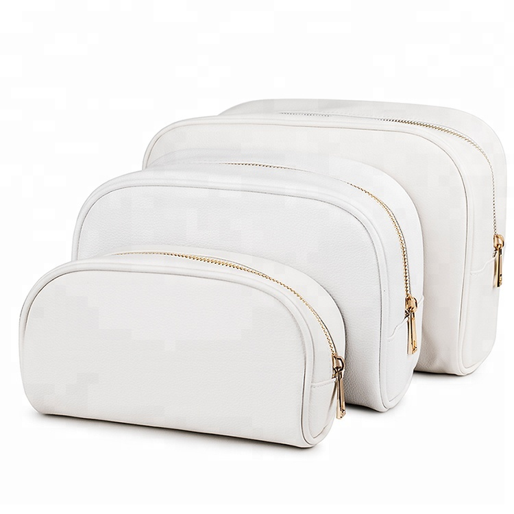 Private Label Real Leather/pu Gold Zipper White Luxury Cosmetic Zipper  Pouch For Makeup - Buy White Luxury Cosmetic Pouch,Cosmetic Zipper  Pouch,Makeup