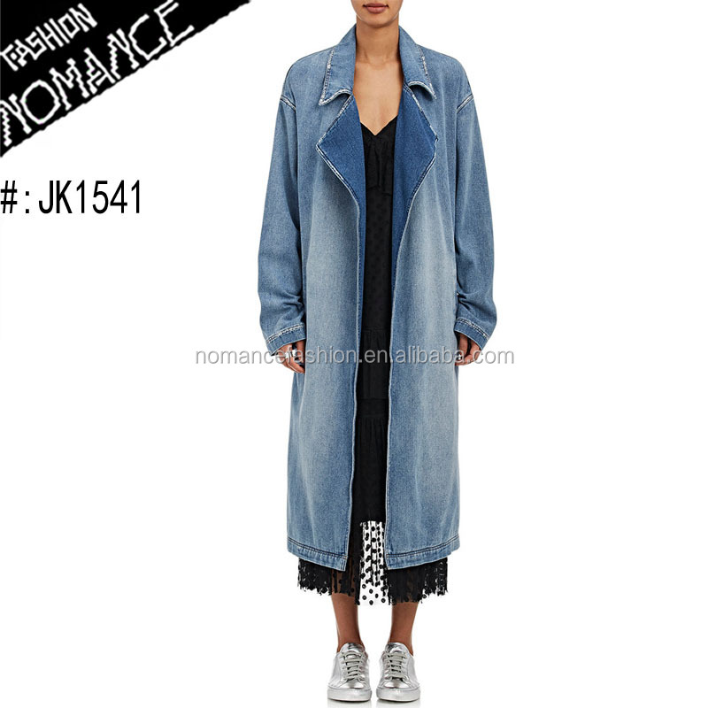 long denim jean trench coat for women