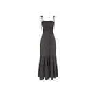 Wholesale Clothes Women Ladies Black Geometric Shirred Tiered Maxi Dress