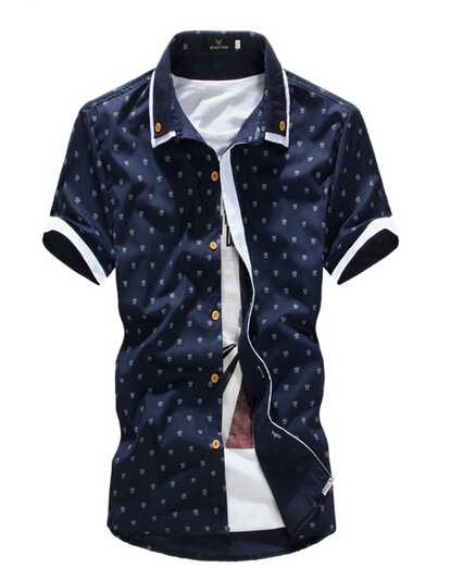 Casual shirts men slim floral short sleeved shirts high-quality fashion trend splicing male shirt Camisas Hombre free shipping
