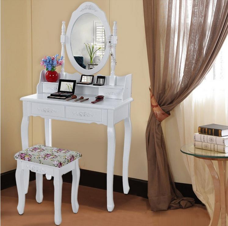 tocador con espejo de maquillaje mesa francs aparador de madera cajones antiguos vanidad conjunto madera
