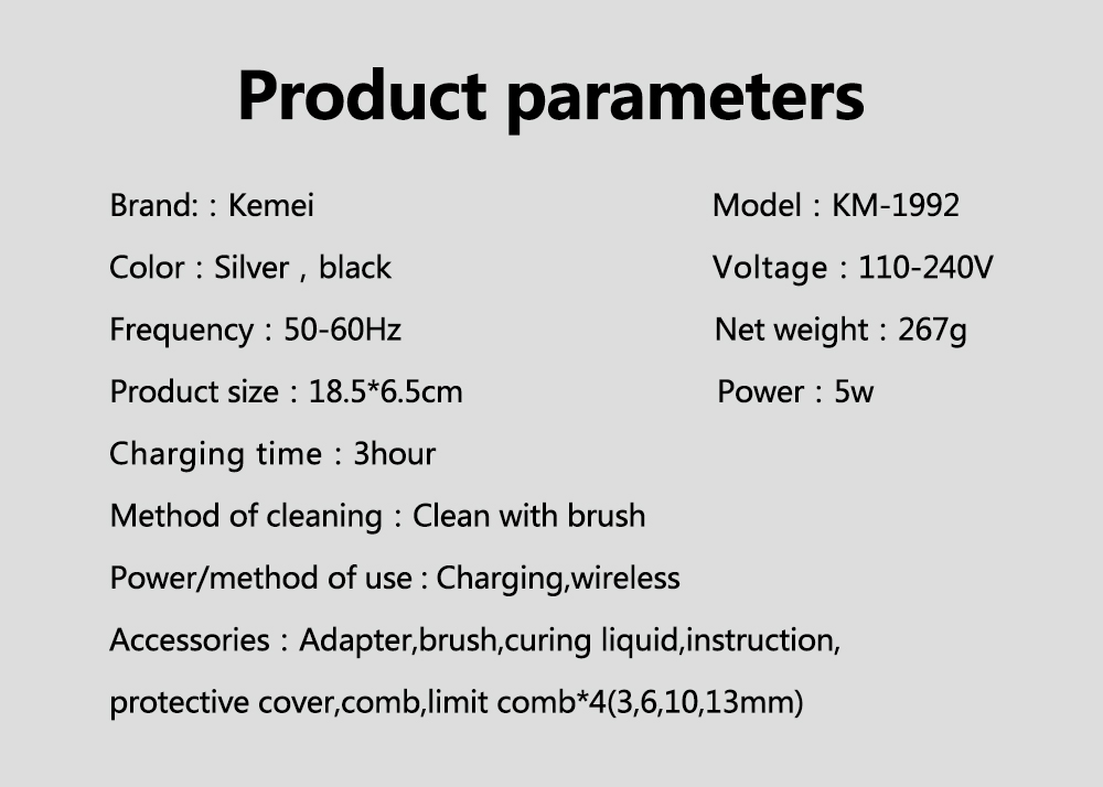 Kemei wholesale Professional  Electric Hair Clippers for Salon Baber Hair Trimmer rechargeable M-1992