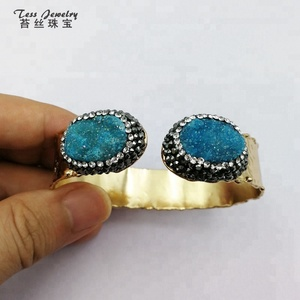 Wholesale fashion aqua oval shaped cuff druzy metal sex bangle 24k gold plated adjustable double quartz stone bangle