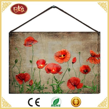China Canvas Illuminate Red Flower Decoration Outdoor Wall Art Painting