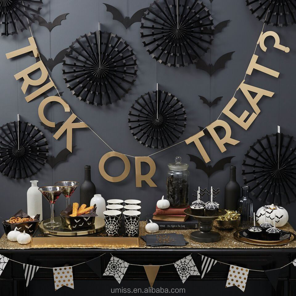 Umiss Halloween Treat or Trick Party Banner Bunting, Paper Fan Set Decoration