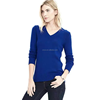 17HLC4075 Italian Cashmere vneck button back sweater blue
