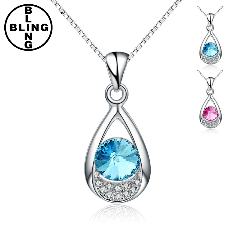>>>Fashion jewelry 2017 elegant blue crystal charm 925 sterling silver water drop shape sapphire necklace with Rhodium plating/