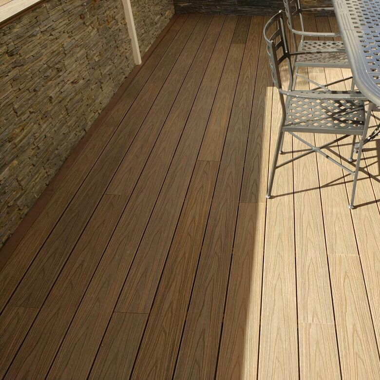 UV resistance terrace veranda cheap standard co-extrusion wood plastic composite parquet decking material with great price