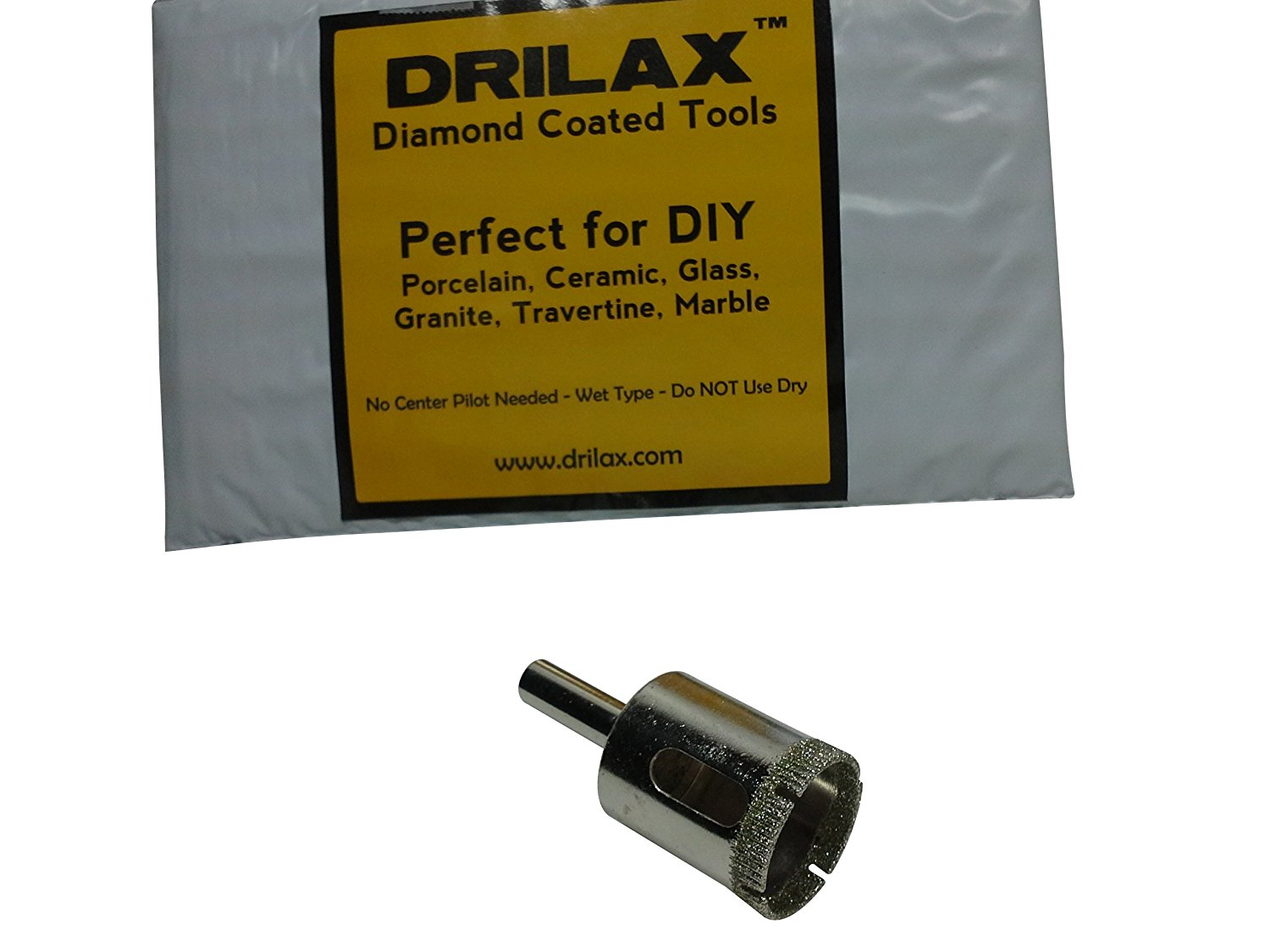 """Drilax 1 Inch Diamond Hole Saw Drill Bit Tiles, Glass, Fish Tanks, Marble, Granite Countertop, Ceramic, Porcelain, Coated Core Bits Holesaw DIY Kitchen, Bathroom, Shower, Faucet Installation Hole Size 1"""""""