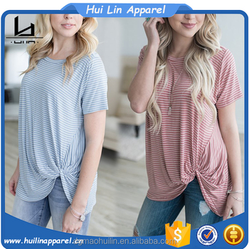 new style custom color women short sleeve knot design stripe t shirt