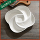 Modern rose shaped white ceramic chip and dip tray party dessert plate