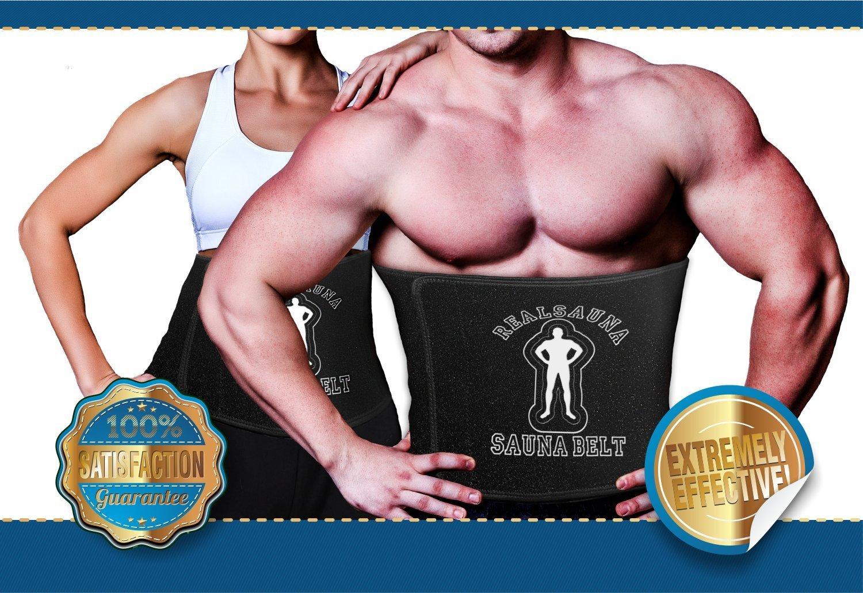 Realsauna Unisex Sauna Belt - Waist Trimmer & Stomach Belt, Weight Loss Slimming Belt, Waist Trainer, Abdomen Belt, Stomach Wrap, Improves Posture & Lumbar Support, Fat Burning Belt, Including eBOOK!