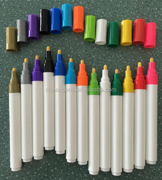 Press paint marker with cap water based ink for plastic barrel 12 different color with acrylic tip