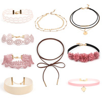 9pcs Double Layer Lace Velvet Choker Set Punk Necklace Pink Floral Choker for Women