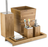 6-Piece Natural Bamboo Wood Bathroom Accessories Set