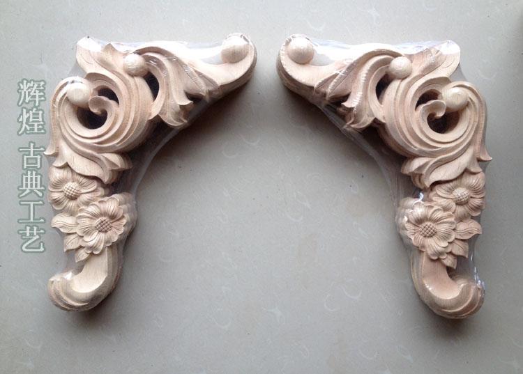 Dongyang Wood Carving Fashion Corners Lique Gate Flower Shavings Carved Furniture Bed Font