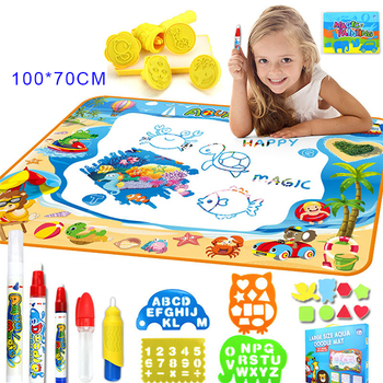 2019 Amazon Reusable New Learning educational Toy Aqua Water Drawing Doodle mat For Kids Toy Toddler Painting