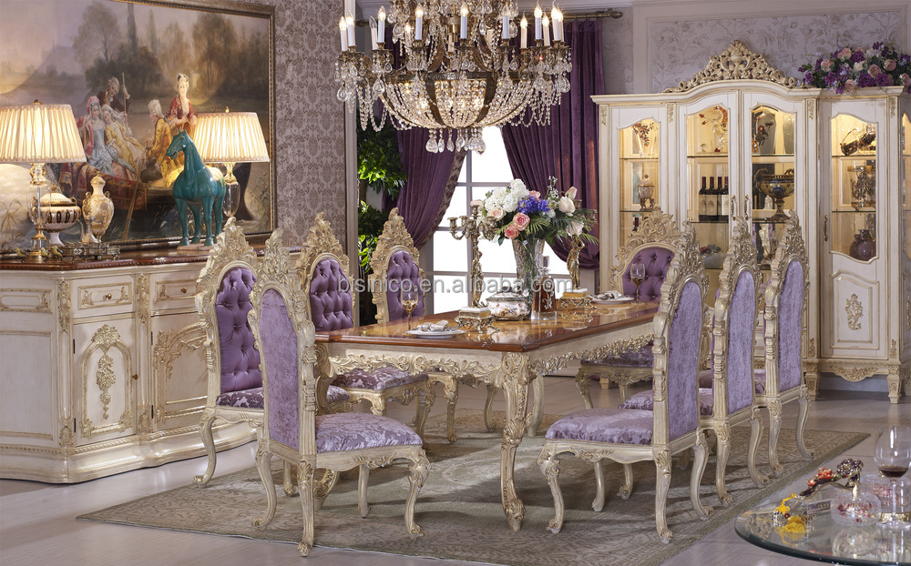 Luxury Dining Table, Antique European Italian Style Dining Room Furniture,  Wooden Dining Table With
