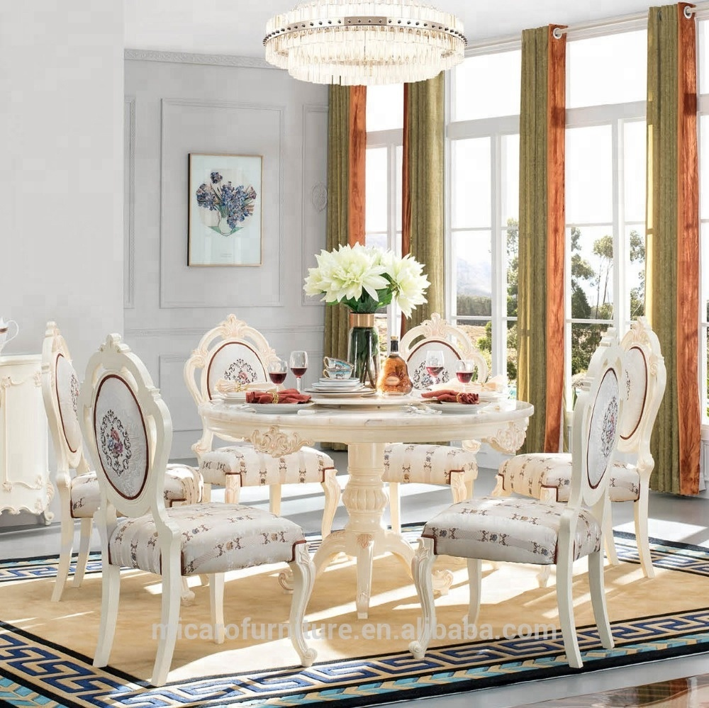 French Romantic Antique Style White Color Marble Round Wood Rotating Dining  Table With 6 Chairs Set - Buy Round Rotating Dining Table,Marble Round ...