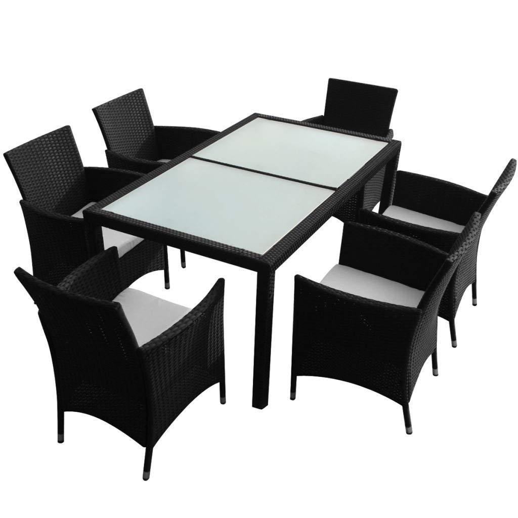 Get Quotations 7Piece Outdoor Patio Rattan Wicker Cushions Black Furniture Garden Dining Set W