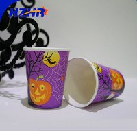 Halloween logo printed disposable insulated paper coffee pumpkin printed halloween disposable paper cup