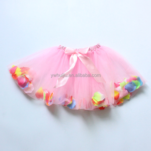 party dancing wear light pink flower petal tutu skirt
